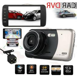 "4"" HD Dual Lens Car Dash Cam Driving Camera Wide Angle Camco"
