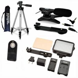 "50"" TRIPOD + MICROPHONE +120 LED HD LIGHT FOR CANON EOS REBE"