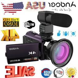 Andoer WiFi 4K HD 1080P 48MP Digital Video Camera Camcorder