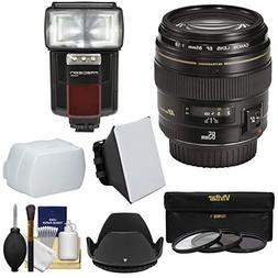Canon EF 85mm f/1.8 USM Lens with 3 Filters + Hood + Flash &