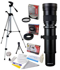 Opteka 420-1600mm f8.3 Telephoto Lens with UV Filter and Tri