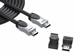 Pwr+ 100 Ft Max Length 4K HDMI Cable 2.0 with 90 Degree Adap