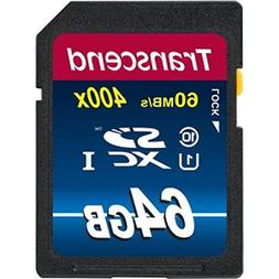Transcend 64GB SDXC Class 10 UHS-1 Flash Memory Card Up to 6