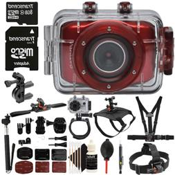 Vivitar DVR783HD Waterproof Action Sports Video Camera Red w