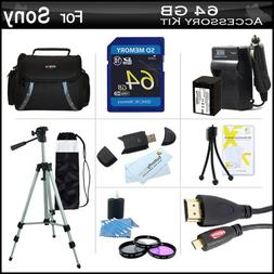 64GB Accessory Kit For Sony HDR-CX430V, HDR-PJ430V HD Camcor