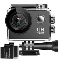 Action Camera, 1080P HD Waterproof Sports Cam 2 Inch LCD Scr