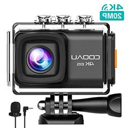 COOAU Action Camera 4K 20MP HD WiFi 98ft Waterproof Sports C