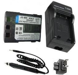 Battery and Charger Kit for Canon VIXIA HG10, HV20, HV30, HV