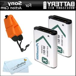 2 Pack Battery Kit Bundle For Sony HDRAS100V/W, HDR-AS100VR