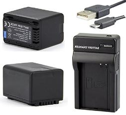 Battery  and Micro USB Charger For Panasonic HC-WX970 HC-WX9