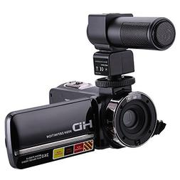 Camcorder With Microphone,KINGEAR HDV-301M 24MP HD 1080P 3.0