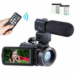Besteker Camcorder Video Camera HD 1080P 24MP WiFi Digital 3