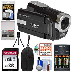 Vivitar DVR-508 HD Digital Camcorder + 32GB Card + Batteries