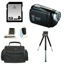 Vivitar DVR508 HD Digital Video Camcorder in Black + 4GB Kit