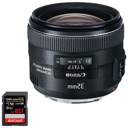Canon EF 35mm f/2 IS USM Wide-Angle Lens w/ Sandisk 128GB Me