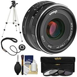 Opteka 35mm f/1.7 HD MF Prime Lens with 3 Filters + Tripod K