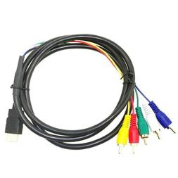 SLLEA HDMI to 5 RCA Cable, 5FT red yellow blue white green e
