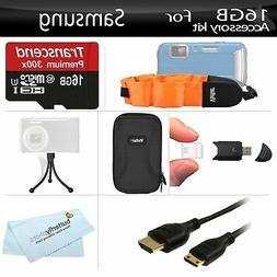 16GB Accessories Kit For Samsung HMX-W200 Waterproof HD Pock