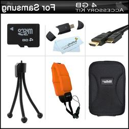 4GB Accessories Kit For Samsung HMX-W200 Waterproof HD Pocke