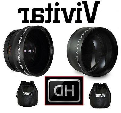 2-PC LENS KIT HI DEF TELEPHOTO & WIDE ANGLE LENS FOR CANON V
