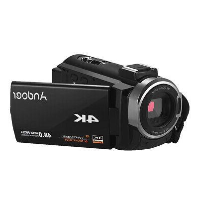 "ANDOER 3"" DIGITAL VIDEO WIFI 48MP CAMCORDER DV+MICROPHONE Mic"