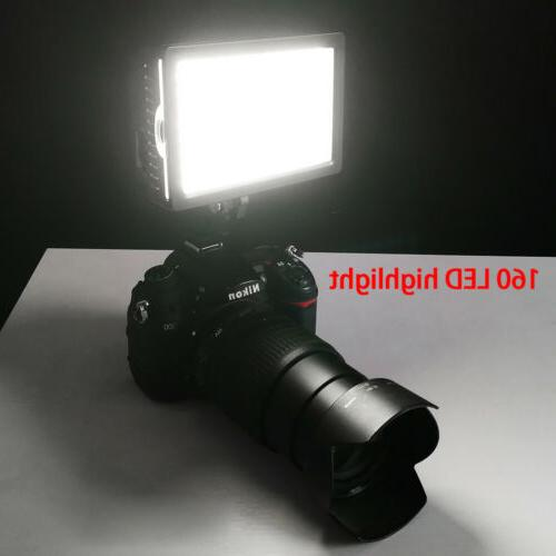 Pro HD-160-LED Video Light Lamp for Canon Nikon Pentax Camera Camcorder