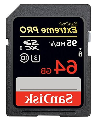 SanDisk Extreme PRO 64GB SDXC Flash Memory Card with up to 9