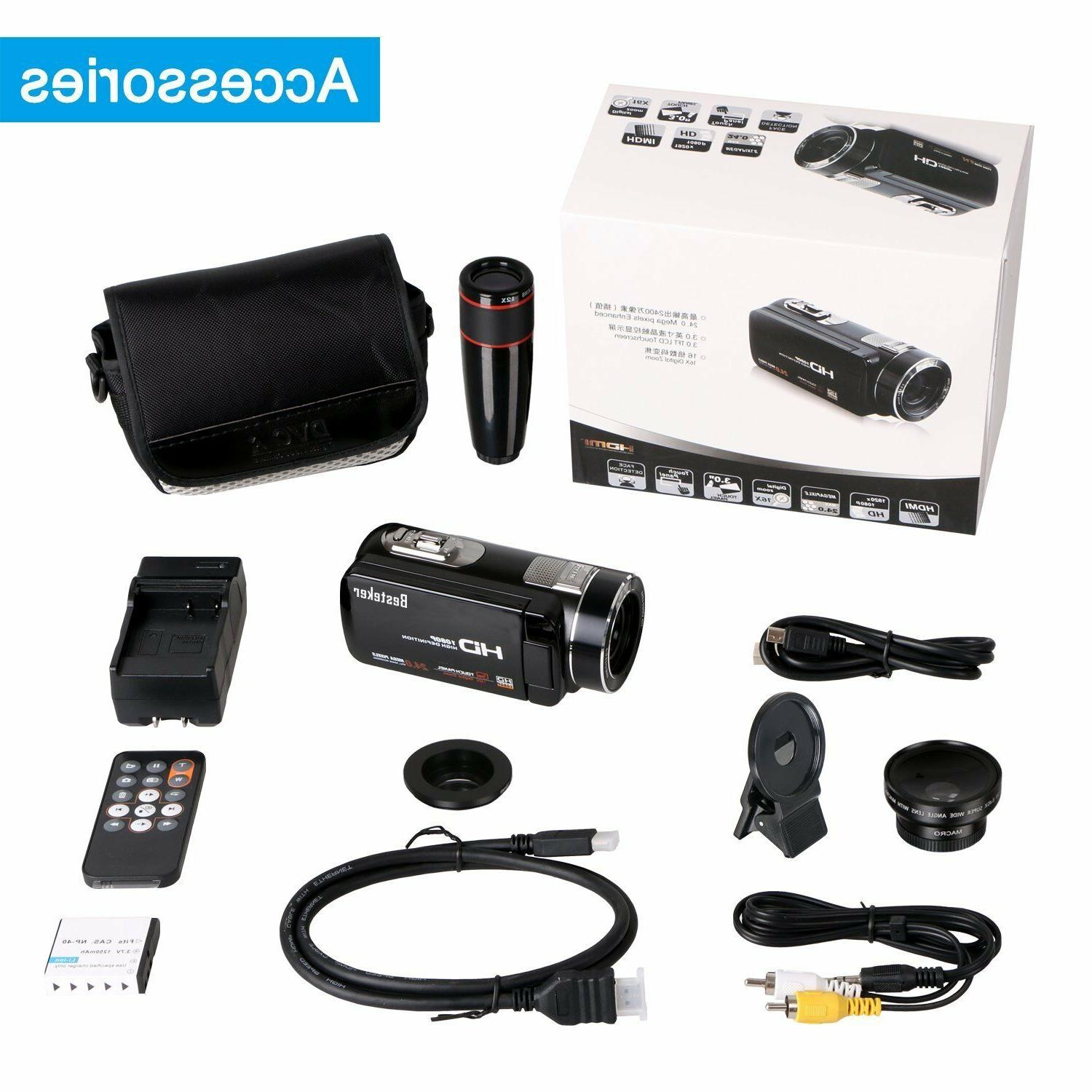Video Camcorder, Besteker Portable HD 1080p 24.0 Megapixels