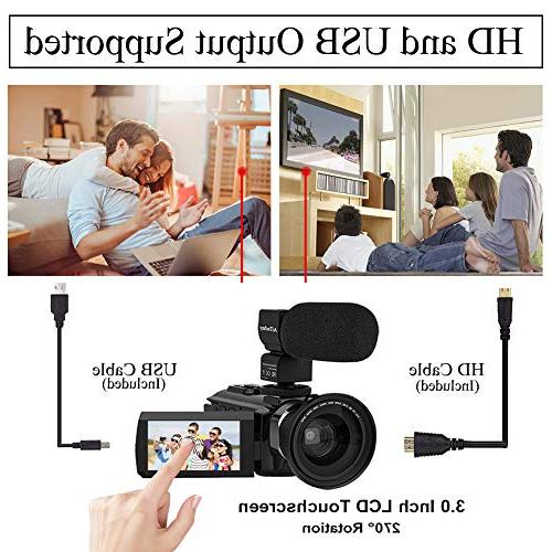 Video Camera AiTechny Digital WiFi Digital Recorder Touch Screen Vision with Microphone, Wide Angle LED Video Light, 2 Bag