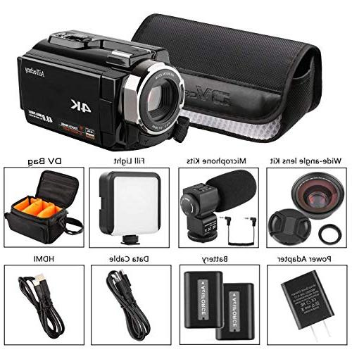Video AiTechny Ultra Digital WiFi Camera 48MP Digital Touch Vision with Microphone, Wide Angle Video Light, 2 Bag