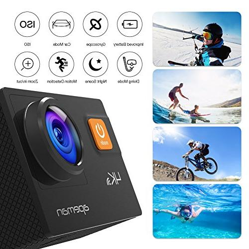 APEMAN Action 20MP WiFi HD Underwater Camcorder EIS Upgraded Batteries, Bag and 24 Mounting Accessories