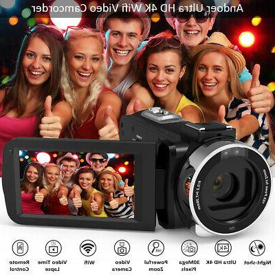 Andoer 4K WiFi Video Camera Camcorder DV Microphone