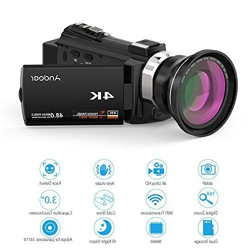 Video Camcorder, Andoer Digital 48MP 2880 x 3inch Touchscreen Handy Wifi Camera IR Vision Support 128GB