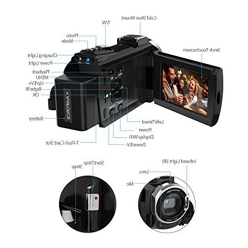 Video Camcorder, Digital Video 2880 HD 3inch Touchscreen Handy Camera Vision Support 16X 128GB Storage Valentine's Gift