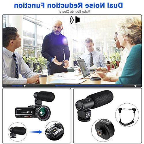 Video Camera YouTube Full 1080P 24.0MP Digital with External Microphone Lens