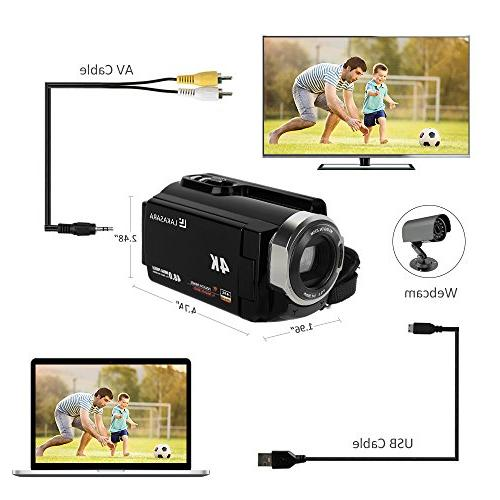 4K Camera Camcorders 48.0MP Ultra HD Video Recorder with Infrared LCD External Angle Lens