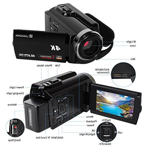 4K Camera 48.0MP Ultra HD Recorder Wifi and Infrared Night 3'' LCD Touchscreen Angle