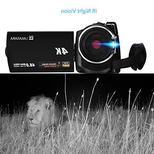 4K Camcorder, Camera 48.0MP Ultra HD Recorder with Wifi and Infrared LCD Wide Angle Lens