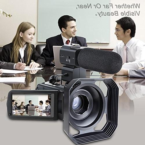 Video Remote WiFi Video HD 30FPS Video Video Camera Recorder with External Microphone Hood