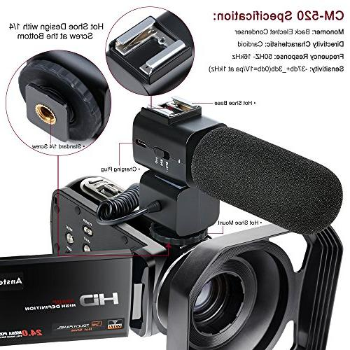 Video Camcorder,Ansteker Remote Control WiFi HD 1080P 24MP Video Portable Video Camera External Hood