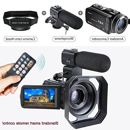 Video Camcorder,Ansteker WiFi Camera Full HD 24MP Video Camcorder Video Recorder with External Hood