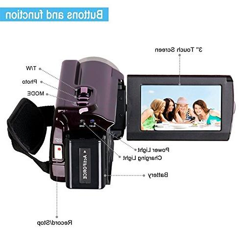 Camcorder Wifi,KINGEAR 24MP Inch LCD Screen Video