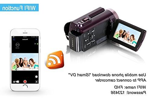 Camcorder Wifi,KINGEAR 24MP HD 1080P Inch LCD Digital Video Camera