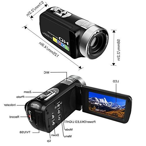 """Camcorder Webcam 24.0MP 2.7"""" Rotatable Screen Zoom Record Video"""