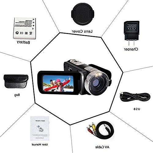 Camcorder Full HD 1080p Webcam 24.0MP Rotatable Screen 16x Zoom For Video Function