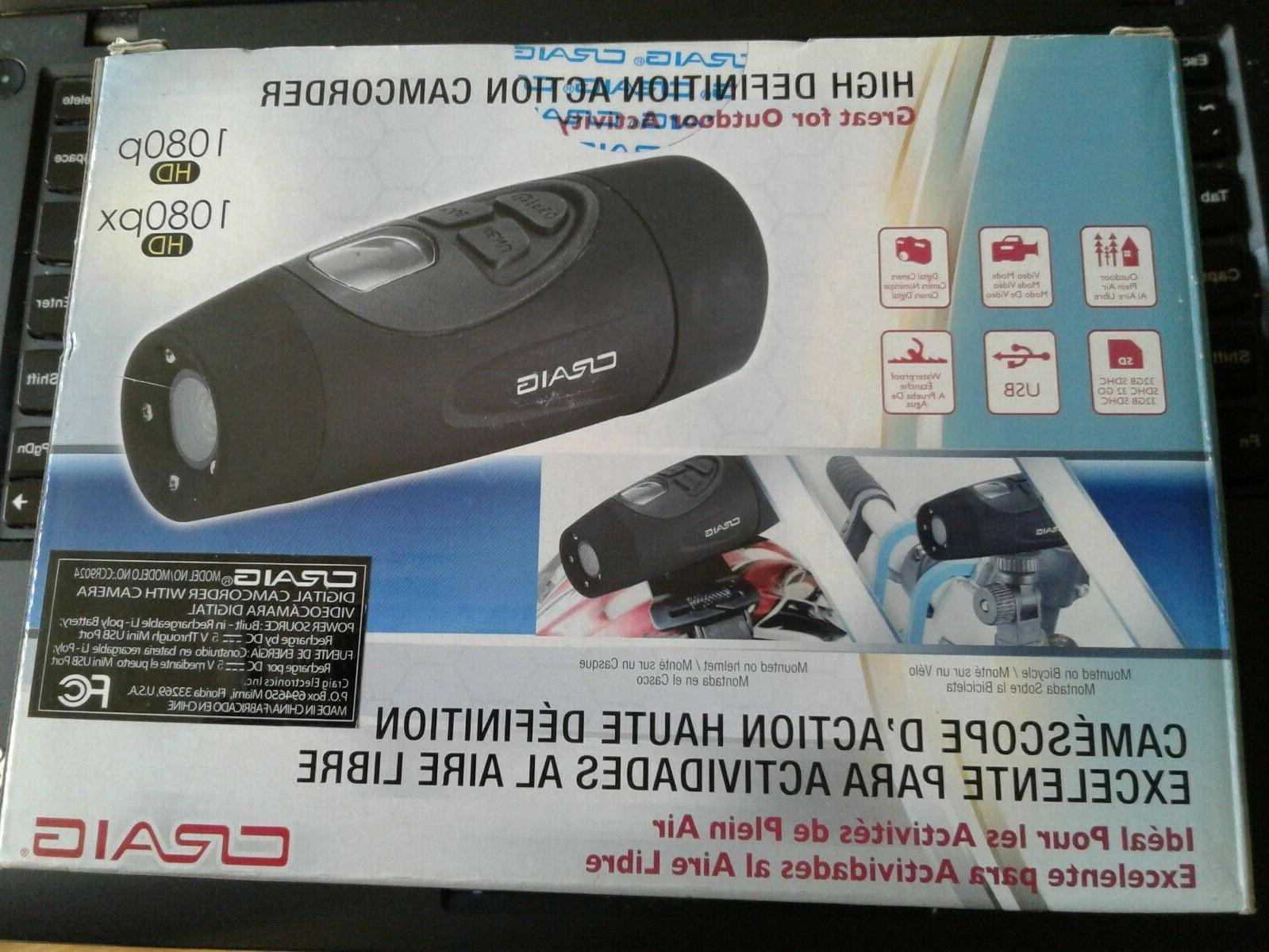 Craig Electronics 1080P HD Action Camcorder, Black