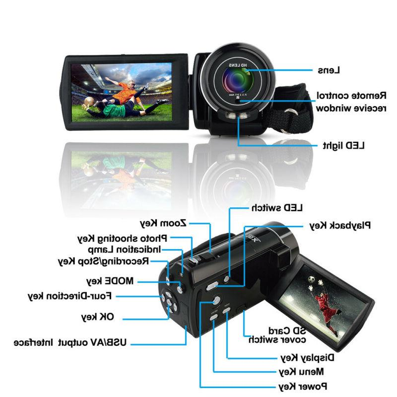 """FULL HD 1080P 24MP 3""""LCD 16X ZOOM Vision Video Camera Camcorder"""