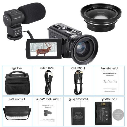4K Digital Camcorder 16X WiFi MP Camera & Night
