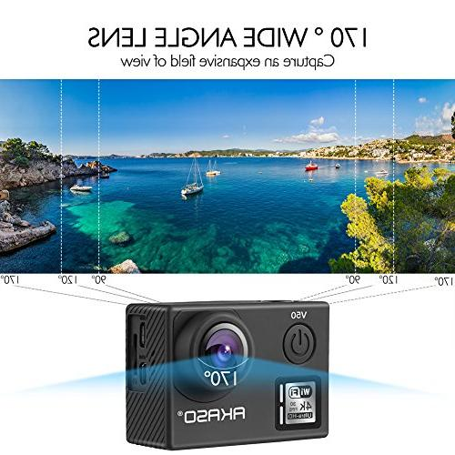 AKASO V50 Native 20MP Action Camera with 30m Waterproof Remote Wide Angle, 2 Batteries Mounting Accessories Kit