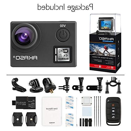 AKASO 20MP with 30m Waterproof Camera with Remote 170 Batteries Mounting Accessories Kit
